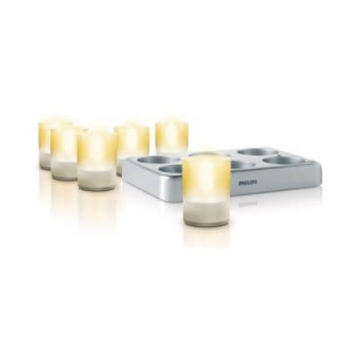 Philips 69126/60 6-Set LED Portable Tea Light (Clear and Glass)